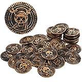 Aoriher 50 Monedas de Plástico Moneda de Pirata de Niños Moneda Falsa de Tesoro Pirata Moneda de Cofre de Búsqueda de Tesoro Pirata para Niños (1,4 x 1,4 x 0,07 Pulgadas, Marrón)