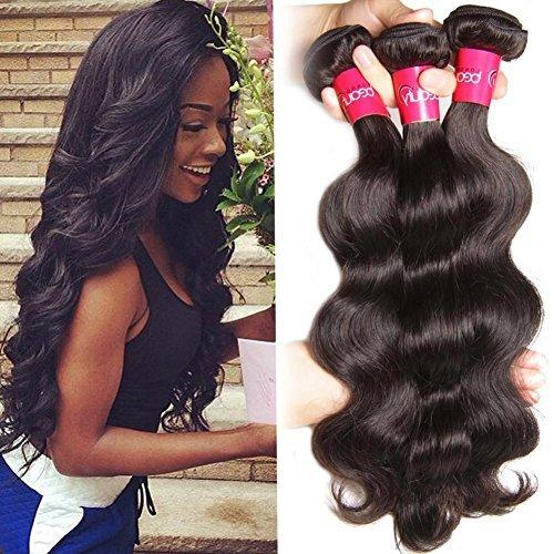 Cheveux brésiliens vierges brésiliens Ondulés 3 lots, longue durée Corps 100 Cheveux Humains Wave, noir naturel couleur mixte Longueur 14 14 40,6 cm
