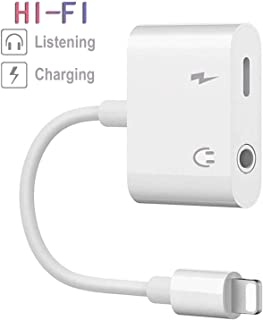 Headphone Jack Adapter for iPhone Earphone AUX Audio Splitter 3.5mm Jack Dongle Car Charger Connector Compatible for iPhone 7 Plus/X/XS/XR/8/8 Plus Splitter Music and Charge Support iOS11 or Higher