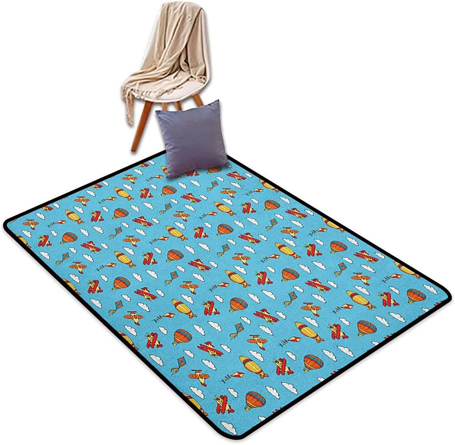 Non-Slip Carpet Airplane colorful Air Transportation Collection with Balloons Biplanes Zeppelins and Kites Outside The Door Rug W5'xL7'