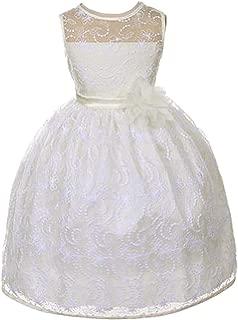 Girl's Elegant Lace Tea Length Flower Girl Party Holiday Dress (2-12)