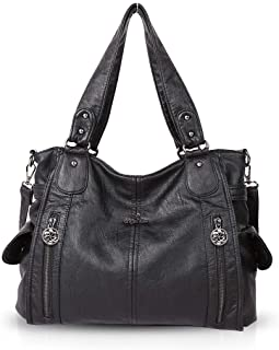 NICOLE & DORIS Women Hobo bags shoulder bags Washed Leather Totes Crossbody with Multiple Compartments