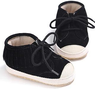 MolySun新生児の赤ちゃん幼児靴ファッションレースタッセル柔らかい最初のウォーカー少年少年滑りキャンバスシューズ