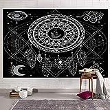Tapiz de atrapasueños Tapiz de mandala en blanco y negro Geometría psicodélica Tapiz de plumas Decoración de pared Ropa de cama Colcha 230 * 180cm