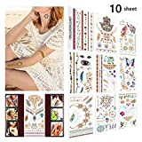 10 Sheets Metallic Temporary Tattoos for Women Body Makeup, 150+ Face Glitter Body Jewelry Henna Tattoo, Bachelorette Party Tattoos Elephants Bracelets Henna Cool Stickers for Teens Face Body Paints