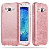 Cadorabo Funda para Samsung Galaxy J5 2015 (5) Funda Hybrid Brillo en Polvo DE Estrellas Rosa – Cubierta Protectora de Plástico e Silicone TPU con Antichoque –