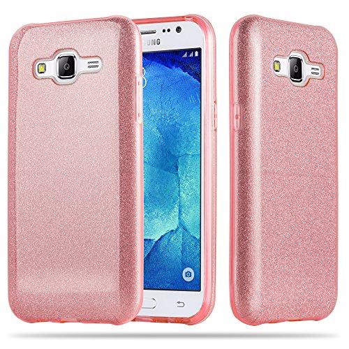 Cadorabo Hülle für Samsung Galaxy J5 2015 (5) - Hülle in Sternenstaub PINK – TPU Silikon und Hardcase Handyhülle im Glitzer Design - Hard Case TPU Silikon Schutzhülle