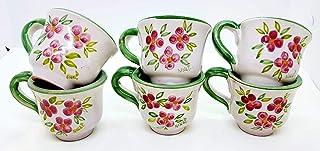 6 Tazzine da caffè Linea Fiori Rosa Bordo Verde Ceramica Handmade Le Ceramiche del Castello Made in Italy Dimensioni H 5,2...
