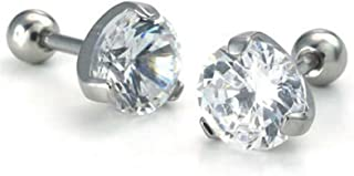 Gadgetsden Stainless Steel and Cubic Zirconia Stud Earrings for Unisex - Adult, Silver