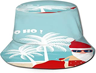 Fisherman Hat Christmas Santa Claus in Beach Bucket Hat Unisex 3D Printed Packable Bonnie Cap UV Protect Lightweight Sun Hat for Picnic Hunting Fishing Golf Hiking