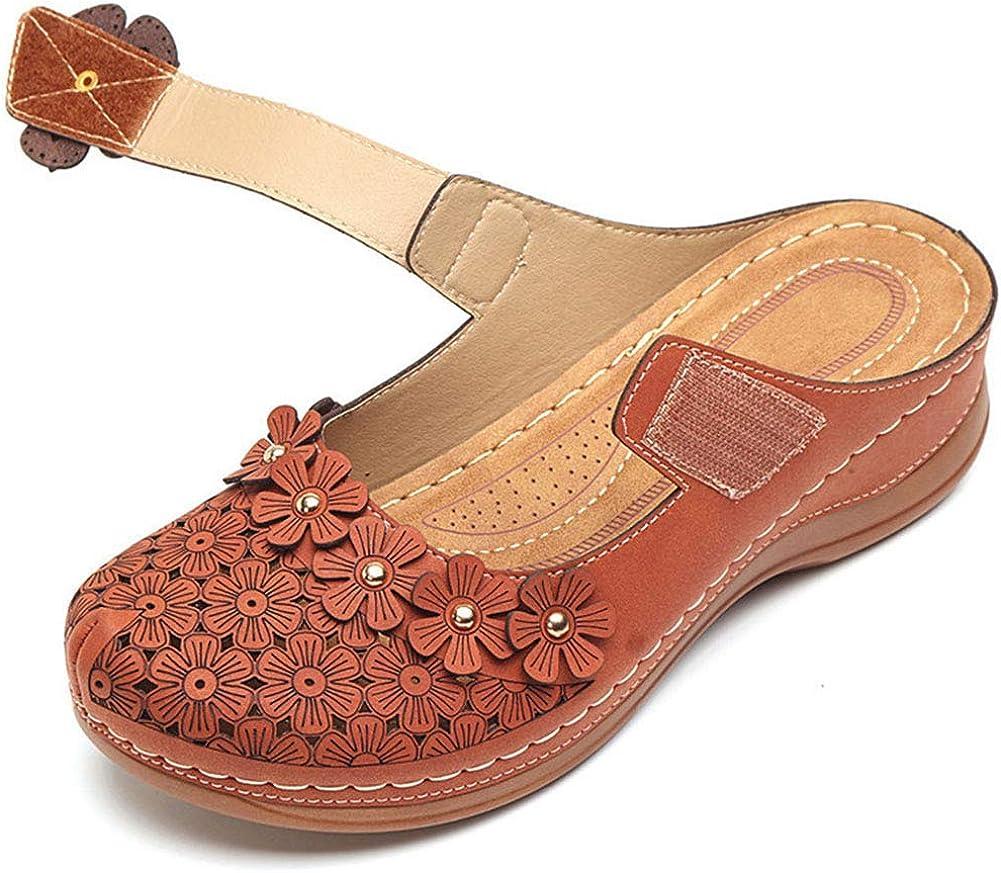 FemFlame Women's Comfortable Flat Slip on Slippers Mules Hollow