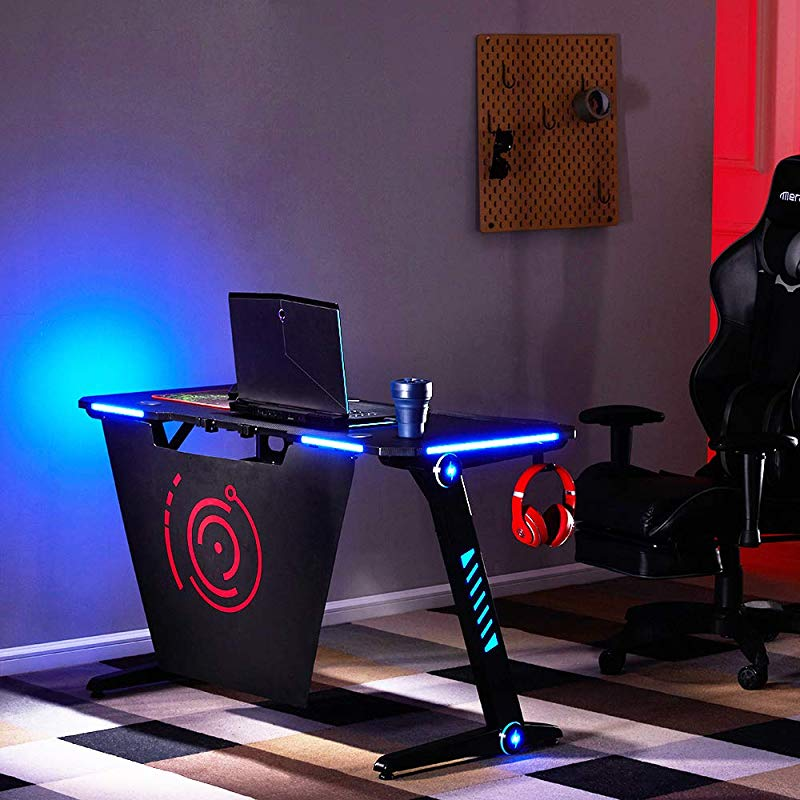 Merax Gaming Desk LED Lights Z Shaped Ergonomic Computer Desk Comfortable For PC Gamers Home Office Durable Racing Table Workstation With Large Surface Headphone Hook Black Red Basic