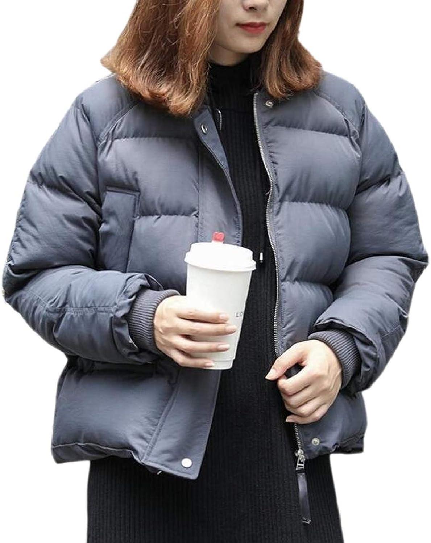 TDCACA Women Warm Winter Parka Coat Stand Collar Quilted Zipper Packable Outwear