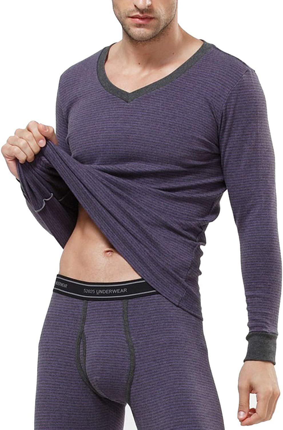 Mens Womens Thermal Underwear Striped Cotton Fleece Lined Long Thick Thermo Underwear,Mens deep Purple,XXL