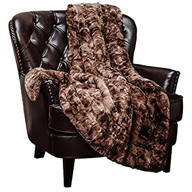 Chanasya Faux Fur Bed Blanket | Super Soft Fuzzy Light Weight Luxurious Cozy Warm Fluffy Plush Hypoallergenic Throw Blanket for Bed Couch Chair Fall Winter Spring Living Room (Queen)- Chocolate