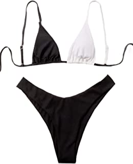 SOLY HUX Women's Color Block Triangle Bikini Bathing Suits 2 Piece Swimsuits Black and White S