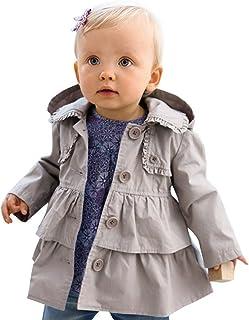 e787ca8cef662 iiniim Bébé Enfant Filles Manteau à Capuche Gris Manches Longues Trench  Coat Volants Veste Coton Bouton