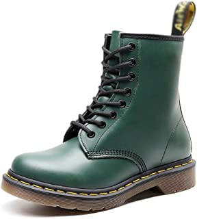 Dr. Martin unisex boots, British wind couple leather booties, casual high-top round locomotive shoes hiking boots lace boo...