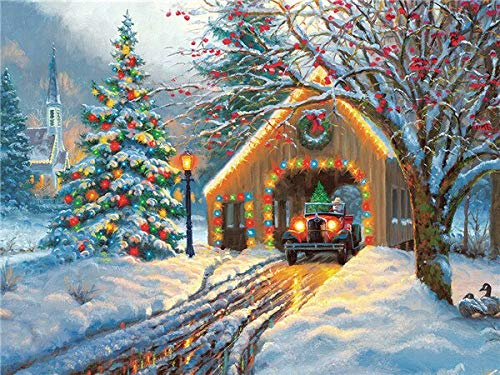 Círculo completo diamante pintura nieve 5D DIY bordado casa mosaico punto de cruz decoración de Navidad hogar diamante pintura A10 30x40cm