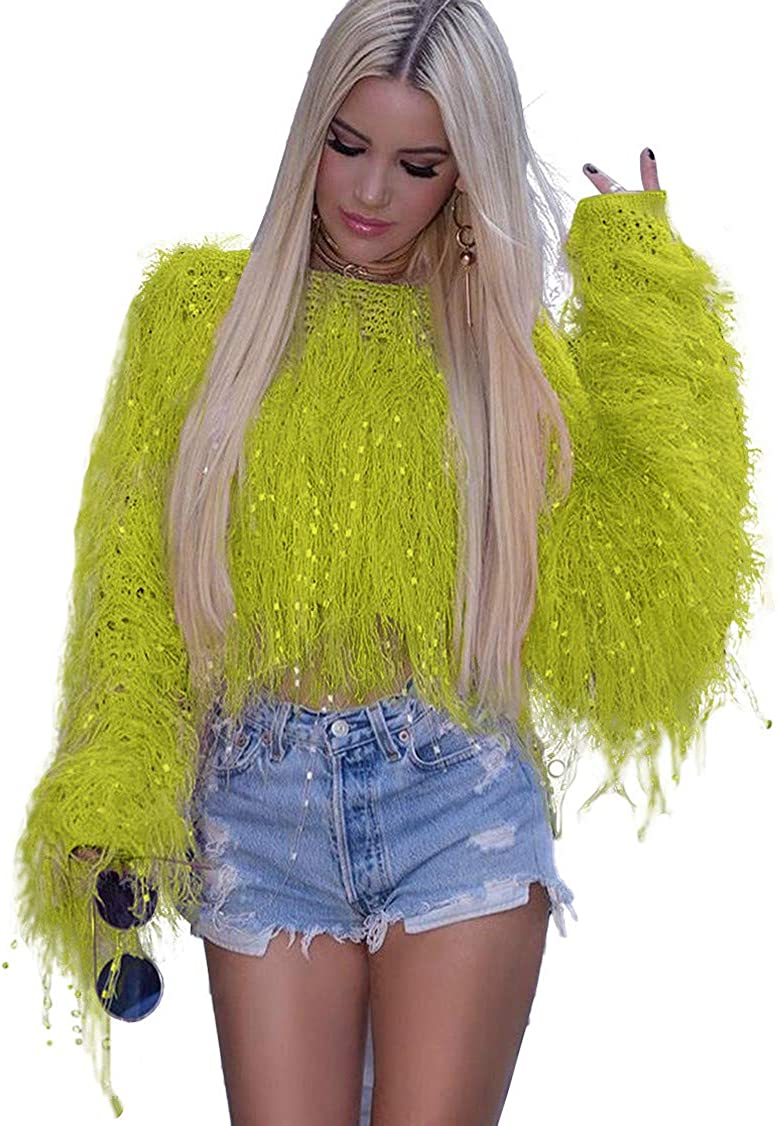 HebeTop Womens Fashion Warm Winter Faux Fur Cardigan Parka Shaggy Short Sweater