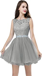 Short Sheer Neck Beaded Prom Homecoming Dresses for Juniors and Seniors