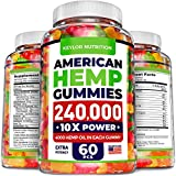 KEYLOR NUTRITION Premium Hemp Gummies 240,000 – All Natural Ingredients - Relief for Stress, Inflammation, Sleep, Anxiety, Depression – Vitamins & Omega 3,6,9 – Made in The USA - 60 pcs