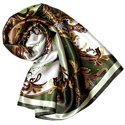 LORENZO CANA Foulard pour la femme – écharpe de 100% soie pour le printemps et l´été, carré avec les mesures de 90 x 90 cm – une sensation de luxe en vert vert tilleul émeraude marron chocolat