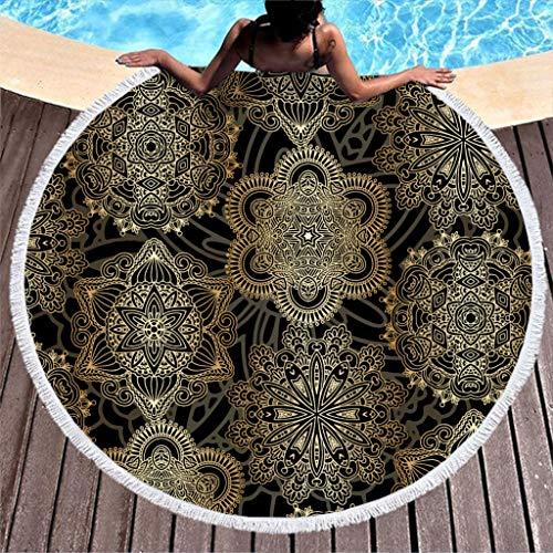 Schwarz Gold Mandala Strandtuch Rund Groß Microfaser Strandtücher Hippie Bohemian Strandhandtuch Badetuch Wandteppich Yoga Matten Picknickdecke 150cm
