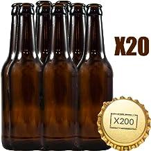 Botellas vacias de cerveza 33cl reutilizables con chapa incluidas   kit 20 botellines y 200 chapas para elaborar cervezas artesana   Pack de botella elaboracion artesanal en casa