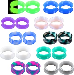20PCS Soft Silicone Ear Gauges Flesh Tunnels Plugs Stretchers Expander Double Flared Flesh Tunnels Ear Piercing Jewelry