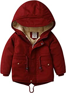 Sponsored Ad - Outwear Boys Winter Coats, Kids Warm Cotton Jacket with Hooded Outerwear for Boys 1-8 T