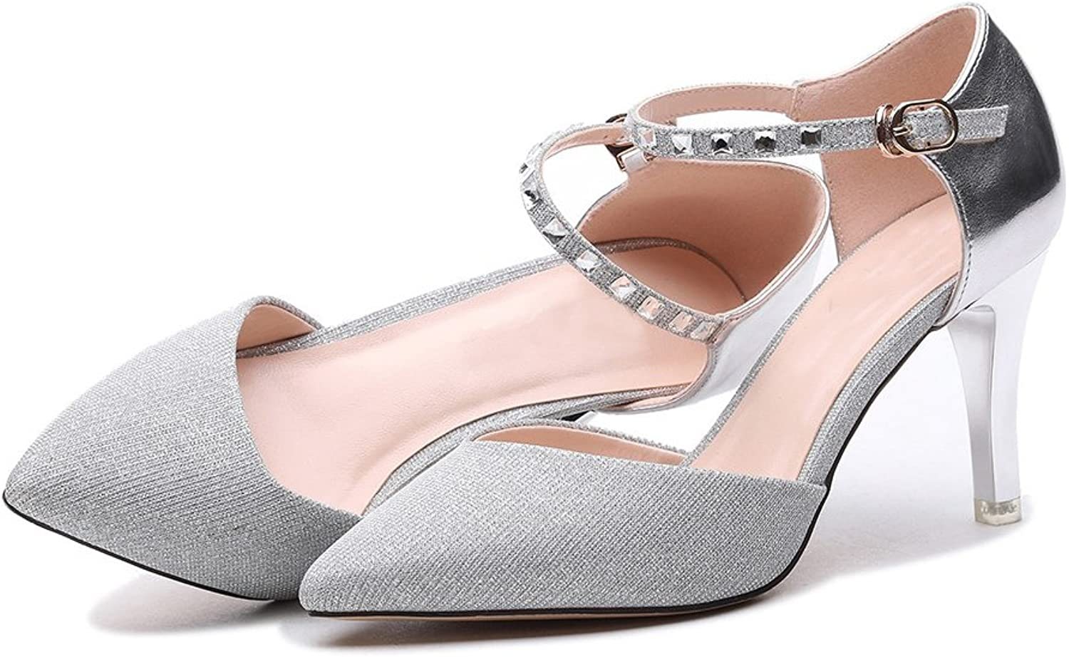 YUBIN Single shoes Female Shallow Pointed High Heels Female Fine with Hollow Fashion Women's shoes Buckle with Bright, Comfortable, Fashion shoes (color   Silver, Size   36)