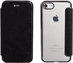 iPhone8 / 7 / 6s / 6 ケース ソフト TPU 薄型 手帳型 合皮レザー カード スマホ 背面クリア Qi対応 カバー 黒 ブラック 「カルネ」 iPhone8 / 7 / 6s / 6,5.ブラック