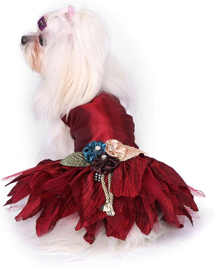 Nicoone Vestido de novia para perro, vestido de boda, vestido de fiesta, para cachorros, perros pequeños, para boda, para mascotas, color rojo oscuro