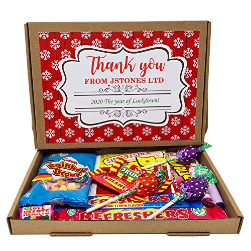 Personalised Christmas Company Colleague Coorporate Thank you Gift Treats Sweets Box Hamper Retro Vegan Stocking Present Lockdown 2020 (Design 1: Vegan)