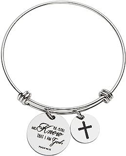 omodofo Bible Verse Bangle Bracelet Cross Charm Confirmation Bracelet Scripture Jewelry