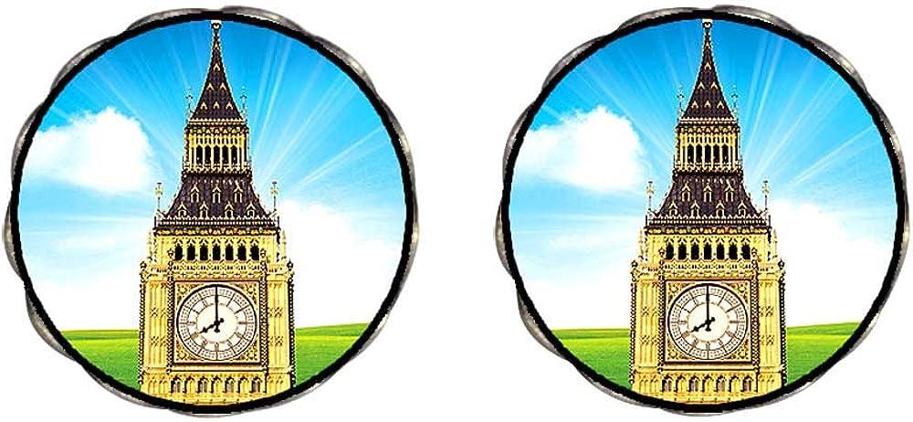 GiftJewelryShop Bronze Retro Style London big ben Photo Clip On Earrings Flower Earrings 12mm Diameter