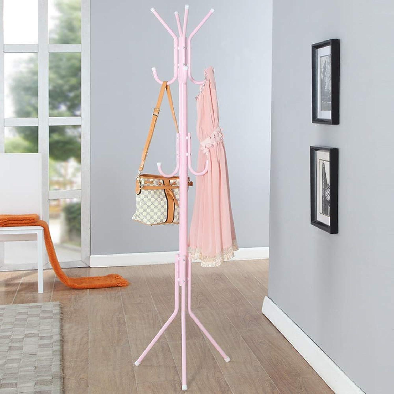 European Coat Rack Living Room Coat Rack Floor Modern Minimalist Bedroom Metal Assembly Indoor Hanger (color   Pink)