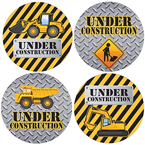 Under Construction Party Favor Labels - 1.75 in - 40 Stickers