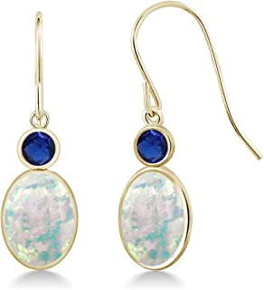 2.36Ct Cabochon White Simulated Opal Simulated Sapphire 14K Yellow Gold Earrings