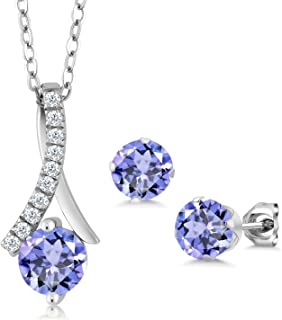 925 Sterling Silver Blue Tanzanite Pendant and Earrings Set (1.97 Cttw Round with 18 Inch Silver Chain)