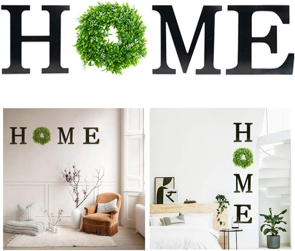 BITLIFUN 12in Home Sign Wall Hanging Wood Letters with Artificial Wreath for Wall Decor, 12in Rustic Wall Letters Home Decor,Farmhouse Wall Decor for Living Room,Bedroom, Kitchen,Doorway,Tape,Black+W1