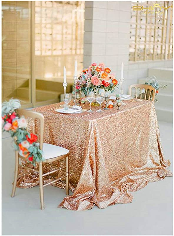 Sale Select Your Size 54 X54 Rose Gold Bell Tablecloths For Retro Weddings And Events Custom Size Sparkle Sequin Table Cloths Overlays And Linens M92