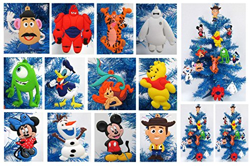 12 Piece Holiday Christmas Ornament Set with Woody, Pooh Bear, Tigger, Baymax, Ariel, Mickey Mouse, Minnie Mouse & More