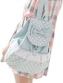 Kawaii Backpack Canvas Cute Polka Dot Bow Lace Bookbags Schoolbag Satchel School College Bag Rucksack by DGQ for Girls Women