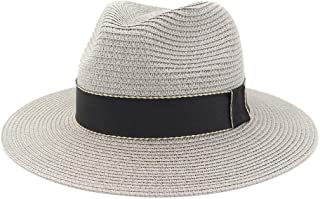 Straw Sun Hats for Women Trilby Summer Panama Hats with Wide Brim Beach Sun Hat Viseras Hoeden` TuanTuan (Color : Gray, Size : 56-58CM)