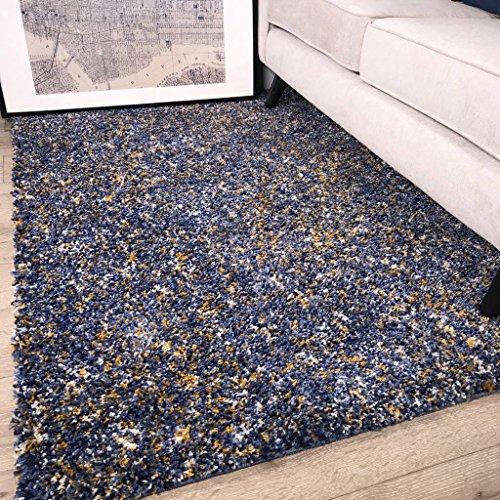 """The Rug House Murano gesprenkelt gemusterter Teppich mit Klecksen in Indigo-blau und Ocker-gelb-grau 120cm x 170cm (3\'11\"""" x 5\'7\"""")"""
