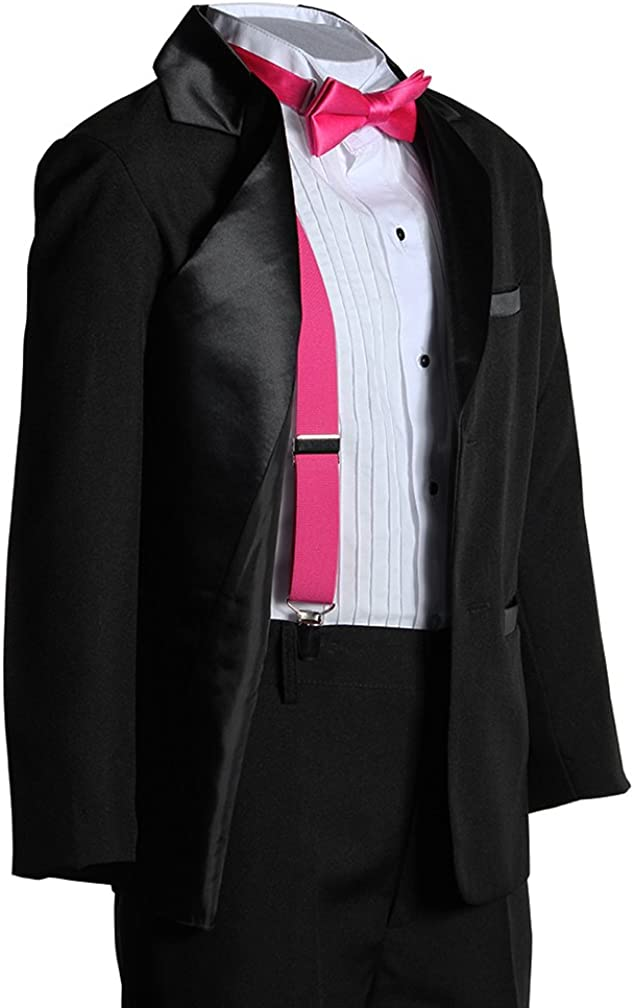 Kids Two Button Notch Tuxedo with Hot Pink Suspender Bow Tie Set