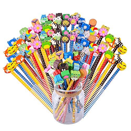 44 PCS Matite con Gomma in Legno Gadget Compleanno Bambini Matite Colorate Regalini Fine Festa Compleanno Bambini Gadget Natale