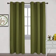NICETOWN Christmas Holiday Decor Thermal Insulated Solid Grommet Blackout Curtains/Drape for Living Room (1 Pair,42 by 84 inches,Olive Green)